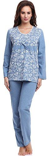 Be Mammy Mujer Pijama de Maternidad BE20-118 (Azul, S)