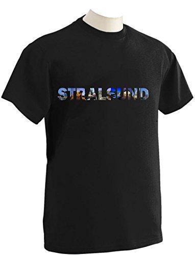 T-Shirt mit Städtenamen Stralsund Schwarz
