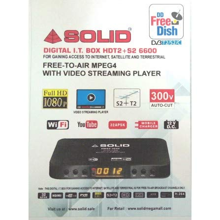 Solid HDT2+S2-6600 Free To Air Satellite, Terrestrial, and Internet Video Streaming IT-Box