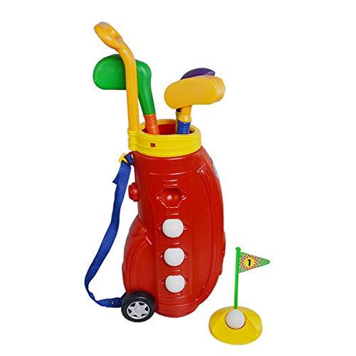 Minigolf Spielzeug, Kinder Golfschlägerset, Golfwagen mit Rädern, 3 bunte Golfschläger, 4 Bälle und 1 Übungslöcher Fun Young Golfer Sportspielzeugset für Jungen und Mädchen zur Förderung der körperlic