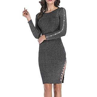 DFGTHRTHRT Women's Elegant Bodycon Slim Fit Long Sleeve Warm Night Out Pencil Midi Dress Tunic Dress (Color : Grey, Size : XL)