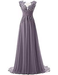 Dresstells Damen Lace Rückseite Offen Ärmellos Chiffon Lange Abendkleider  Promi-Kleider Maxi elegant Brautjungfernkleid e1ee7638e4
