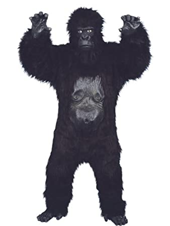 Smiffyu0027s Adult Menu0027s Gorilla Deluxe Costume, Bodysuit With Rubber Chest,  Mask, Hands And