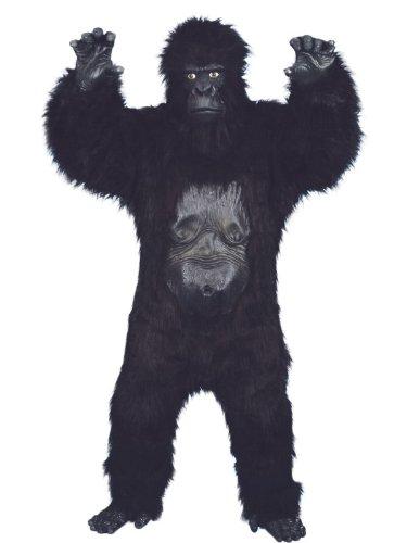 Gorilla Deluxe Kostüm Schwarz Bodysuit mit Gummi-Brust Maske Händen und Füßen, One Size (Schwarzer Bodysuit Kostüm Ideen)