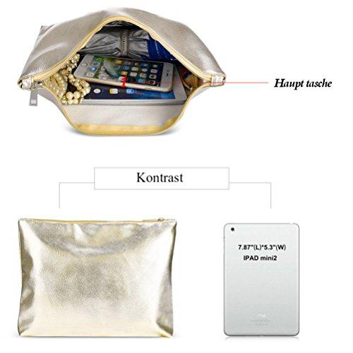 Honeyamll Wasserdicht Durchsichtig Taschen Strandtasche Damen Handtasche Damen Henkeltasche 2-Tasche(Rose) Gold