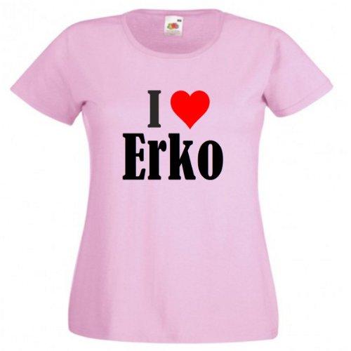 """T-Shirt """"I Love Erko"""" für Damen Herren und Kinder ... in der Farben Schwarz Weiss und Pink Rosa Pink"""