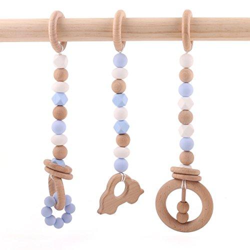 baby tete Toddler Teether Cuentas de Dentición de Silicona Baby Play Gym Pram Toys Accesorios de Cochecito Juguetes Montessori Serie Azul