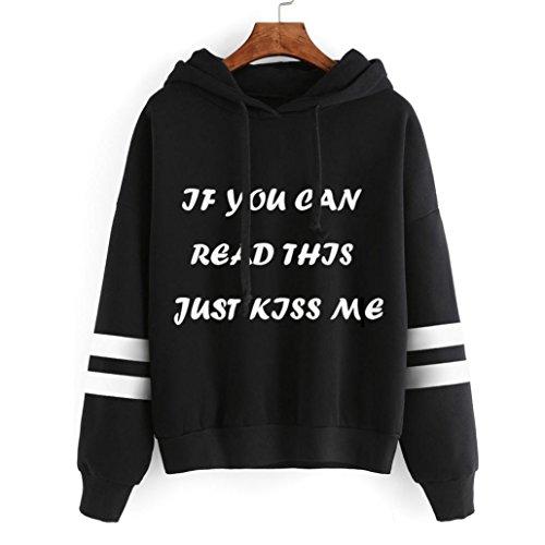 Ouneed® Femme Classique Sweat- Shirt a capuche Taille 44 -50 Noir