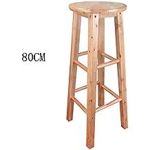 HETAO Creativo Taburetes altos de la cocina Taburetes altos de la barra Taburete de madera Barra del desayuno del asiento, toda la altura de madera sólida 45cm / 50cm / 60cm / 70cm / 80cm para la barra de la barra d , 80cm , 1 Asiento