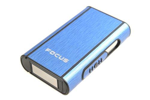 The Khan Outdoor & Lifestyle Company Quantum Abacus Focus Automatisches Zigarettenetui aus Aluminium (9,5cm x 5,7cm x 1.8cm), blau, Mod. 464-03 DE