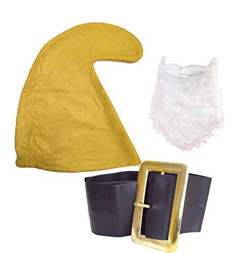 Seven Dwarf/Dwarves Smurf Hay Gnome (YELLOW HAT, BEARD & BELT SET) Fancy Dress Party Garden Fairy tail Snow White (Supplies Schlumpf Party)
