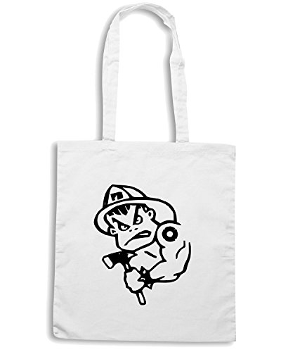 T-Shirtshock - Borsa Shopping FUN0348 259 fireman 2 decal 39481 Bianco