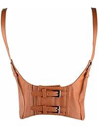 JapanAttitude Serre taille ceinture et bretelles marron clair avec sangles  steampunk vintage ac77db1267e