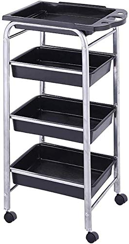 MJYY Cart,Medical Cart,Dining Car,Recoger,Medical Cart Tool Beauty Salons Cart with Removable Drawer, Utility Hairdresser Tool Cart with Wheel, Medical Rolling Trolley for 15 Kg Capacity, Silver/Blac -