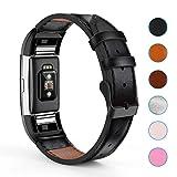 Creyer Fitbit Charge 2 Leder Armband, Kunstleder Armbänder Wrist Strap Uhrarmband Unisex Ersatzband mit Edelstahlschließe für Fitbit Charge 2 - Schwarz