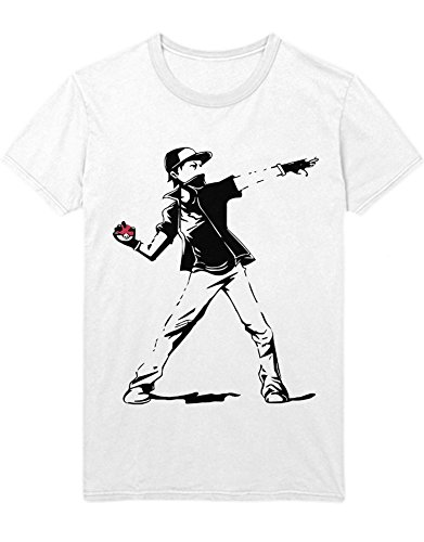 T-Shirt Poke Go Trainer Banksy Ash Riot Putsch Hype Kanto X Y Blue Red Yellow Plus Hype Nerd Game C123129 Weiß L
