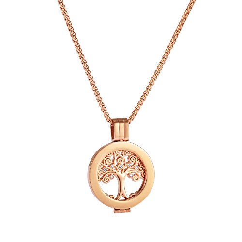U&D Coins 25mm Edelstahl Halskette Anhänger Lebensbaum Coin Kette Rosegold