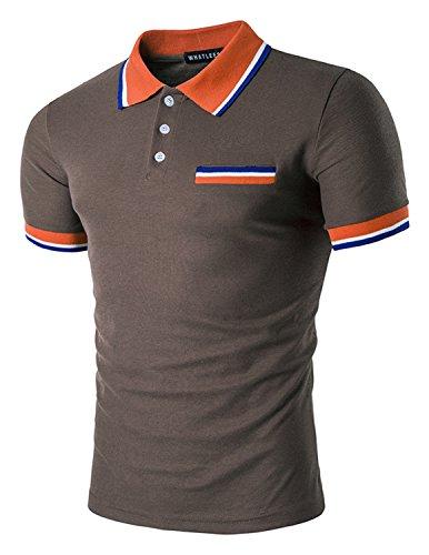 Boom Fashion Herren Poloshirt Beiläufig Kurzarm Stehkragen M - XXL Braun