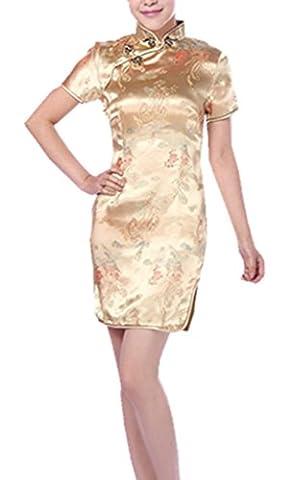 YICHUN Femme Mini Robe Courte Chinoise Cheongsam Qipao Robe de
