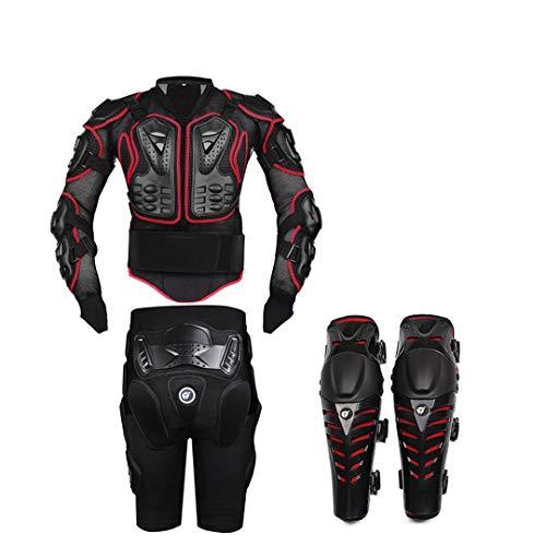 Motorrad Körperschutz Schutzjacke + Getriebe Shorts Hosen + Schutz Motorrad Knieschoner Schwarz Motorradjacke A Style red 4XL -