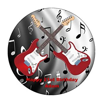75 Guitar Theme Edible Icing Birthday Cake Topper Amazoncouk