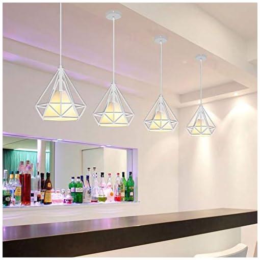 Tobaling Lampada a Sospensione E27 Gabbia, Lampadario Industriale Retro di Diamanti per Cafe, Bar, Cucina, Corridoio Sala, Bianco S [Classe di efficienza energetica A+]