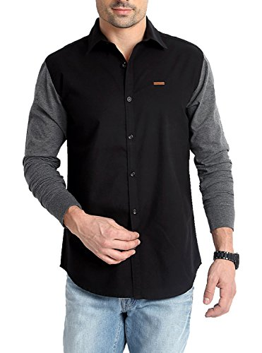 Rodid Men's Casual Shirt (RS15A0BCM-S, Black and Grey, S)