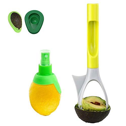 i.VALUX Avocadowerkzeug 5-in-1 Avocadoschneider Avocadoschneider Avocadoschneider Apfelentkerner Avocado-Stampfer mit Komfortgriff, 2 Größen Avocado-Sparer + Zitronenpresse - Vegetable Corer