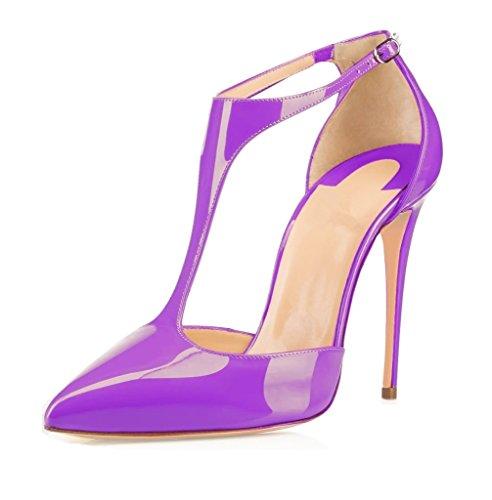 EDEFS Damen T-Spange Spitze Zehen Pumps Knöchelriemchen Schuhe mit Schnalle Purple
