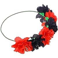 Frcolor Diadema Floral Corona de Guirnalda de Flores Corona de Pelo para Fiestas navideñas Festival (patrón Rojo Negro)