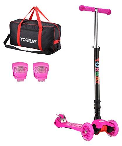 Yorbay Klappbar Kinder Scooter Roller mit LED Rollen Belastbar bis 60KG mit 2x LED Silikonleuchte und Tragetasche (Pink)