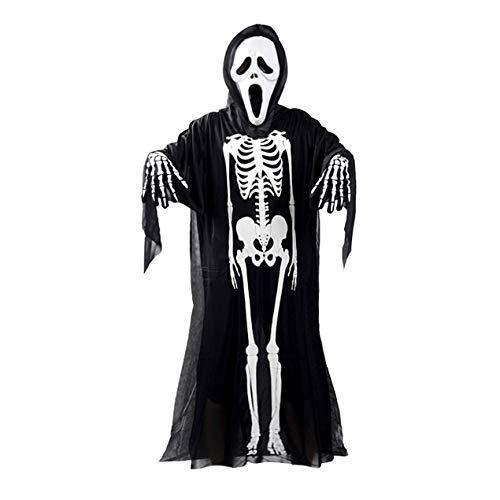 Schädel Skeleton Ghost Cosplay Halloween-Kostüm + Devil Mask -