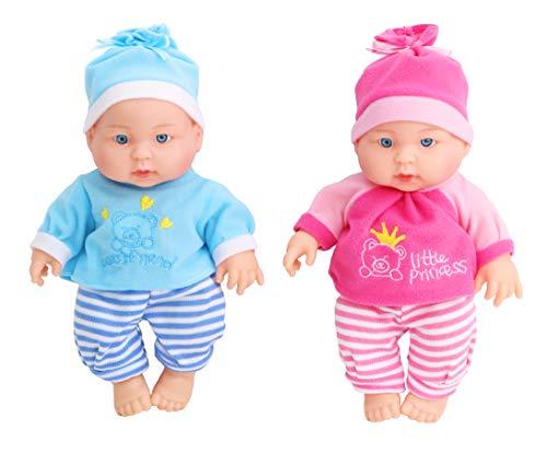 Toyland® 21cm Twin Baby Dolls Geschenkset - Mädchenpuppe - Jungenpuppe - Kinderpuppenspielzeug (Twin Schwester Geschenke)