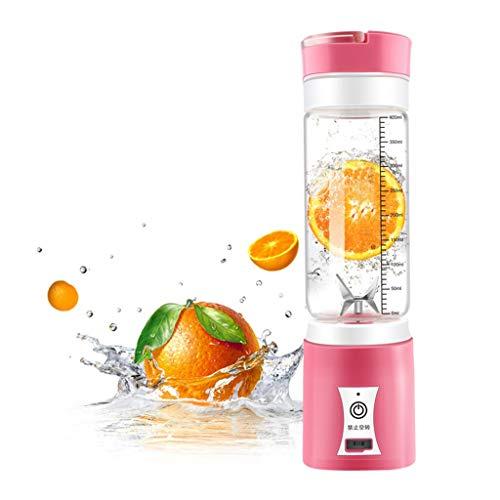 XVCHANGQING Exprimidor 400ML USB extraíble mini exprimidor de frutas portátil portátil batido eléctrico trituradora licuadora botella de vidrio, rosa