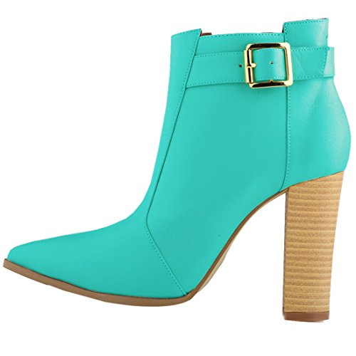 Oasap Women Fashion Solid Chunky High Heel Ankle Bootie green