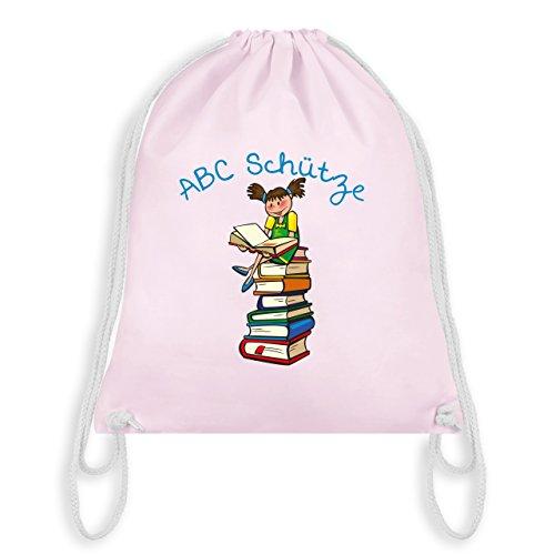 Einschulung - ABC Schütze Mädchen brünett Bücher - Unisize - Pastell Rosa - WM110 - Turnbeutel & Gym Bag