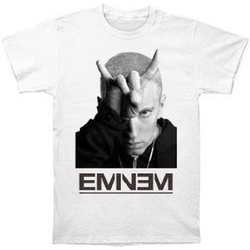 ill Rock Merch - Camiseta - Hombre de color Blanco de talla Large - Ill Rock Merch Eminem - Finger Horns (Camiseta) (Large) - Bianco