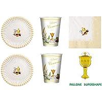 Juego de vajilla para comunión, para niño o niña, color marfil para decoración de la mesa, Kit N° 17 Cdc - (20 platos, 20 vasos, 20 servilletas, ...