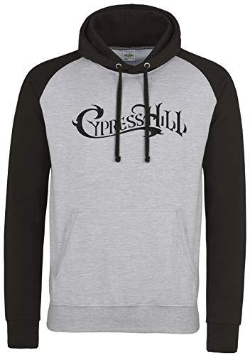 LaMAGLIERIA Unisex- Baseball Hoodie Cypress Hill Black Print - Kapuzenpullover Rap hip hop, M, Light Grey/Jet Black -