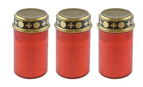 bellaton 3er Set LED Grablicht Rot mit Golddeckel, Grableuchte, Grabkerze mit Schalter