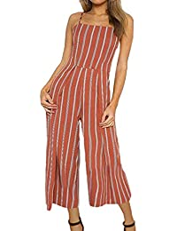 8407b8913bbc5b ECOWISH Damen Jumpsuit Sommer Overall Sexy Gestreiften Hosenanzug Ärmellos  Playsuit Breites…
