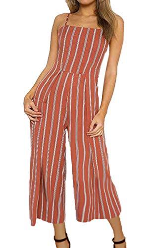ECOWISH Damen Jumpsuit Sommer Overall Sexy Gestreiften Hosenanzug Ärmellos Playsuit Breites Bein Romper Rot XL
