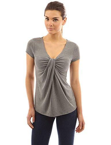 PattyBoutik femmes blouse à col V avec manches courtes froncé aux devant gris chiné