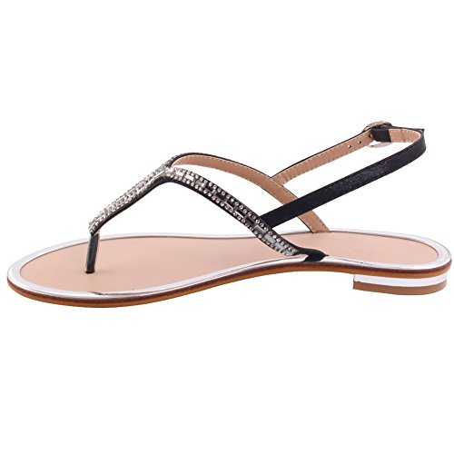 Unze Femmes 'Andy' Diamante embelli Summer Beach Party Get Together Carnaval Casual Sandales plates chaussures Royaume-Uni Taille 3-8 Noir