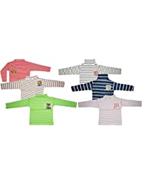 KIFAYATI BAZAR Kids Unisex Boys and Girls high Neck Striped Full Sleeve t-Shirt tees Multi Pack of 6