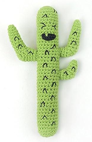 Gehäkelte Baby Rassel- Crazy Kaktus- handgemachter Greifling aus Baumwolle, 13cm,