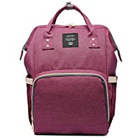 Winwinfly Multi-Functional Diaper Bags Mummy Bag Backpack Baby Nappy Changing Travel Tote Bags for Mum Daddy Purple