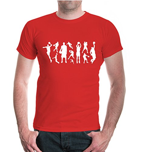 buXsbaum® T-Shirt Basketball-Hoops Red-White