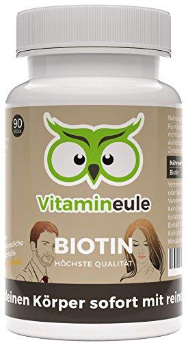 Bio-biotin (Biotin-Kapseln (Vitamin B7) - ohne künstliche Zusatzstoffe - vegane, kleine Kapseln - Qualität aus Deutschland - 100% Zufriedenheitsgarantie - Biotin für Haut, Haare und Nägel - Vitamineule®)