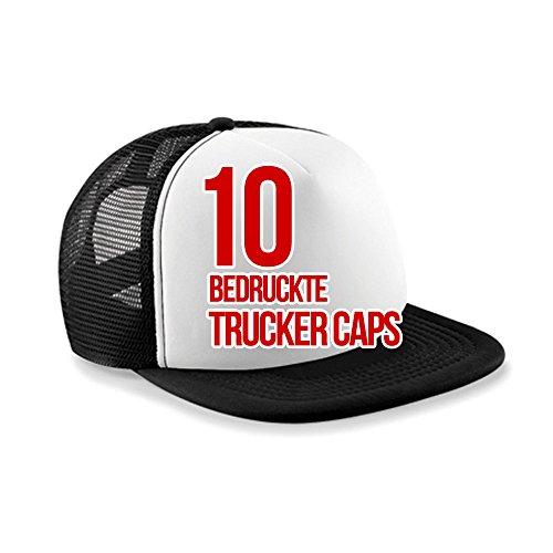 Trucker Caps bedrucken, Mützen 5 Panel - bedruckt 1farbig 10 Stück